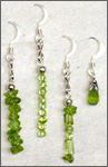 A set of handmade peridot ear rings, sterling silver components, Chi (Qi) jewelry for health